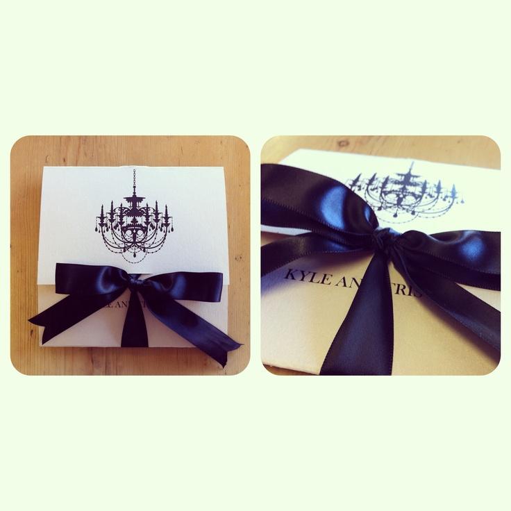 Chandelier   Black Bow   Wedding Invitation