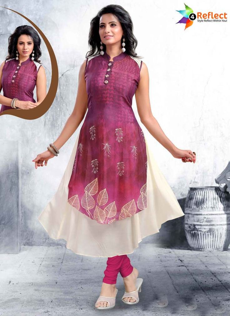 STRIKING MAGENTA CHECKS PARTY WEAR KURTI