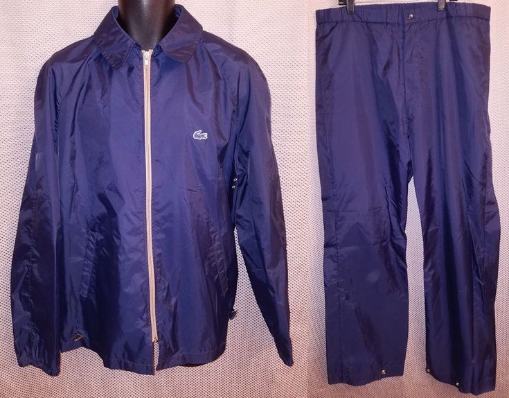 Izod Lacoste True Vintage 1970's/80's Blue Nylon Rain Suit Track Suit VGC Mens M #IzodLacoste #TracksuitsSweats