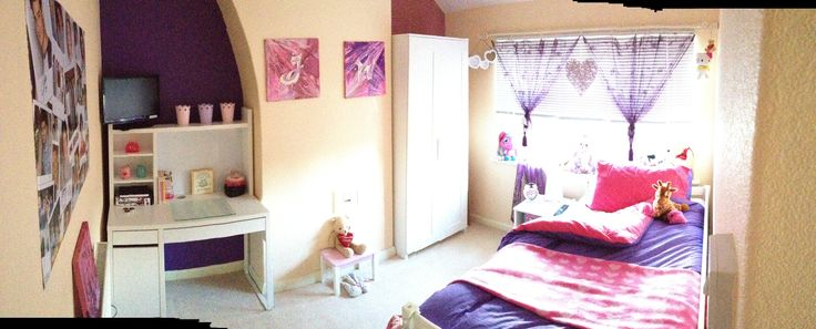Overall Result:  Window: Amethyst Voiles & White Venetian Blind with wicker pale pink heart (Dunelm Mill), White metal extendable curtain pole with ring clips from B&M)  Furniture: Ikea - Mickie wardrobe & Bedside table, Desk - Besta  Linen - Argos  Lighting - Ikea - Kajuta  Chimney Artwork - Custom Initials by Me  Various accessories: B&M, Argos & B&Q plus owners toys.
