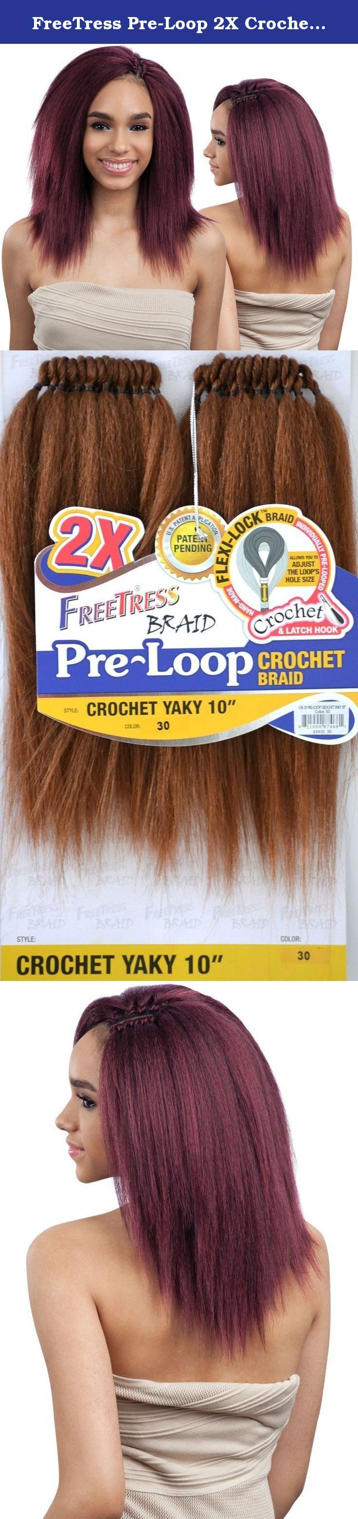 """FreeTress Pre-Loop 2X Crochet Braid Synthetic Yaky 10"""" (1B). Crochet & Latch Hook Flexi-Lock Braid Hand-Made Individually Pre-Looped Allows you to adjust the loop's hole size. Patent Pending Pre-Looped Crochet Braids Save Time and Make for an Easy Installation Easy to Install, Easy Take Down Flexi-LockTM Braid Allows You to Adjust the Loop's Hole to Your Desire Less Frizz, Less Tangling Because There is No Need to Separate Hair."""