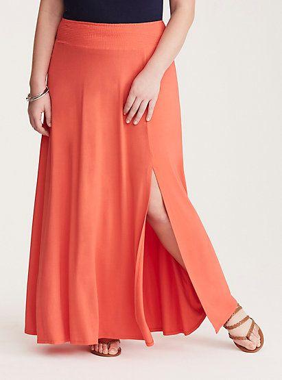 Smocked Side Slit Jersey Maxi SkirtSmocked Side Slit Jersey Maxi Skirt, RUSTY RED