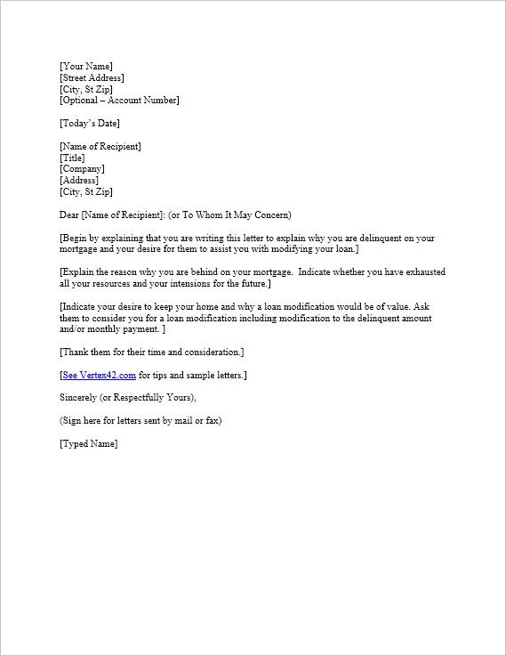 Download the Hardship Letter Template from Vertex42.com