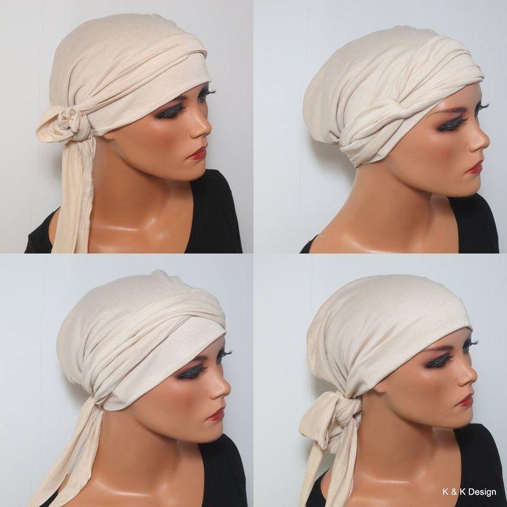 KOPFTUCH m. langen Bändern beige  sommerlich  vielseitig tragbar bei Chemo Alopezie Gartenarbeit Sonnenbaden Cabriofahren von KopfundKragen auf Etsy