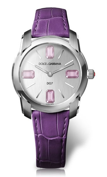 Women's Steel Watch with Pink Tourmaline Stone - D&G Watches