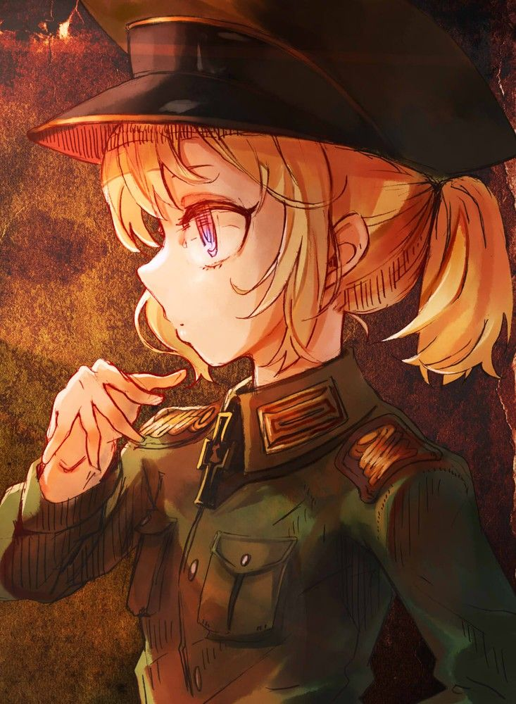 youjo senki tanya degurechaff code-aa high resolution 1girl blonde blue eyes breast pocket epaulettes expressionless female hat in profile iron cross loli military military hat military uniform peaked cap pocket ponytail short hair solo standing tied hair uniform upper body