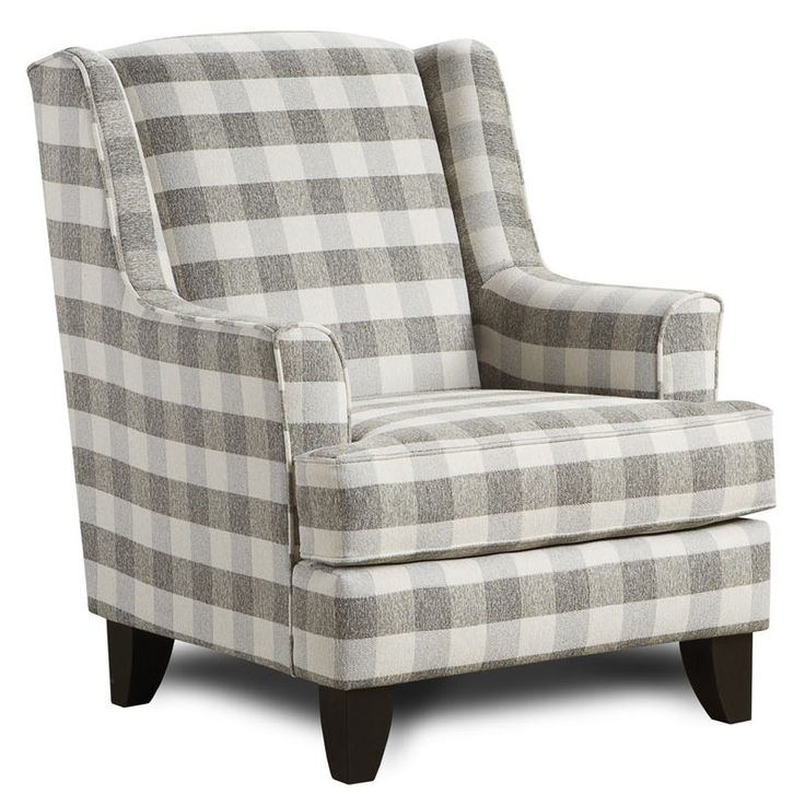 Plaid Brock Wing Chair Charcoal In 2019 Furniture Chair