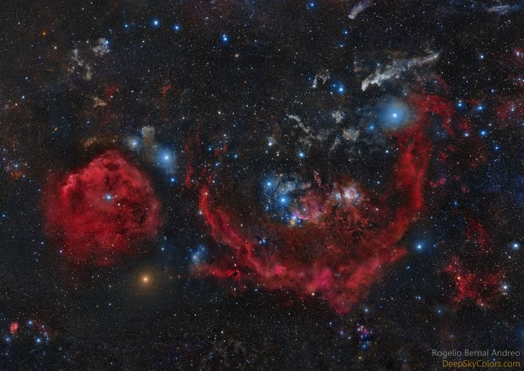 https://flic.kr/p/ryhfeu | Clouds of Orion | Clouds of Orion (Galactic Hunter) is the name of this 56 panes mosaic image I captured between October 2014 and March 2015 of the Orion constellation, featuring a large number of well-known objects, from the Horsehead nebula, to the Orion nebula, Barnard's loop, Witchhead nebula and many others. The image accumulates 242 hours of exposure time (1over 2,000 total individual exposures), meaning you're looking at the light captured by a CCD camera…