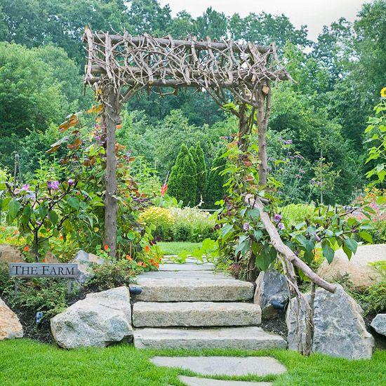 Appealing ArborStones Step, Gardens Ideas, Gardens Arbors, Stone Steps, Rustic Gardens, Gardens Entrance, Appeal Arbors, Rustic Arbors, Garden Entrance