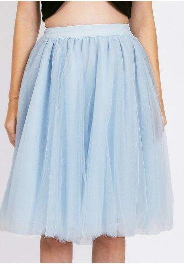 Mayfair Tulle Skirt In Light Blue  at shopruche.com