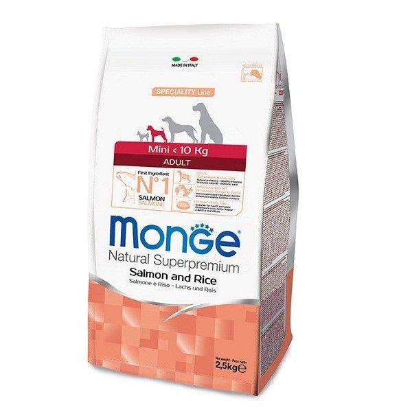 MONGE MINI ADULT SALMONE E RISO 2,5 KG   Le crocchette Monge Natural Superpremium Speciality Line Mini Adult con Salmone e Riso sono un alimento completo per cani di piccola taglia.  12,30 €  https://www.pets-house.it/per-cani-adulti/4483-monge-mini-adult-salmone-e-riso-25-kg-8009470011570.html