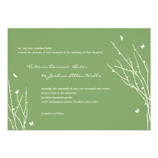 Butterfly Love Wedding Invitations (Green)