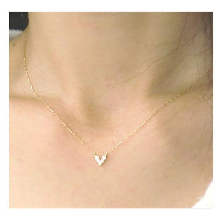 ダイヤネックレス天然ダイヤモンド誕生石ネックレスペンダントハートネックレスゴールド