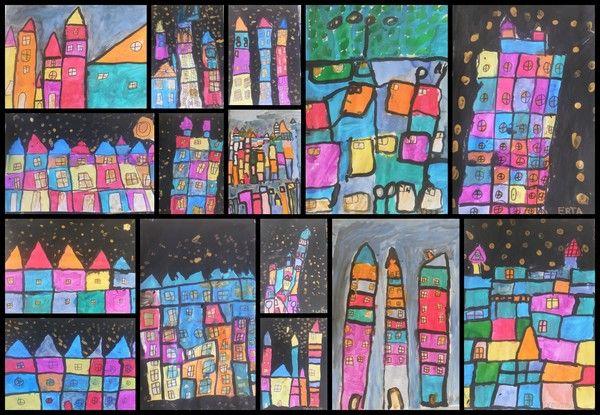 Si certain(e)s ont envie de travailler sur le thème des maisons/construction, voici quelques photos. Les travaux sont effectués avec des MS et GS (mais à adapter avec aide de l'adulte à des PS, en traçant par exemple les contours), inspirés de reproductions...