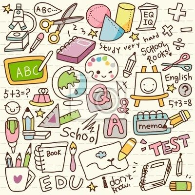 Sticker Schattige Doodle Back to School
