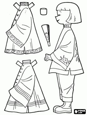 China doll dress up game with traditional costumes  coloring page