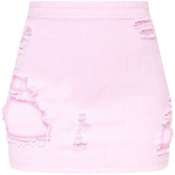 Petite Pink Distressed Denim Mini Skirt (£30) ❤ liked on Polyvore featuring skirts, mini skirts, short skirts, petite skirts, distressed denim skirt, distressed denim mini skirt and pink miniskirt