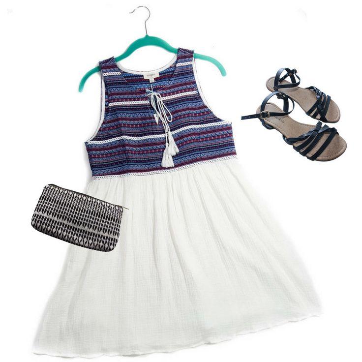 Blue & White Aztec Mini-Dress - ONE LEFT (L)