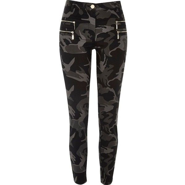 River Island Grey camo zipped super skinny pants ($60) ❤ liked on Polyvore featuring pants, trousers, gray pants, camouflage pants, camoflauge pants, skinny pants and zipper pants