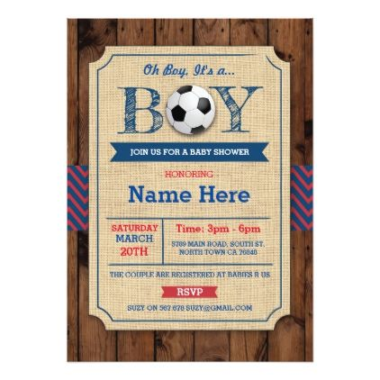 Soccer Boy Baby Shower Football Wood Invite - invitations custom unique diy personalize occasions