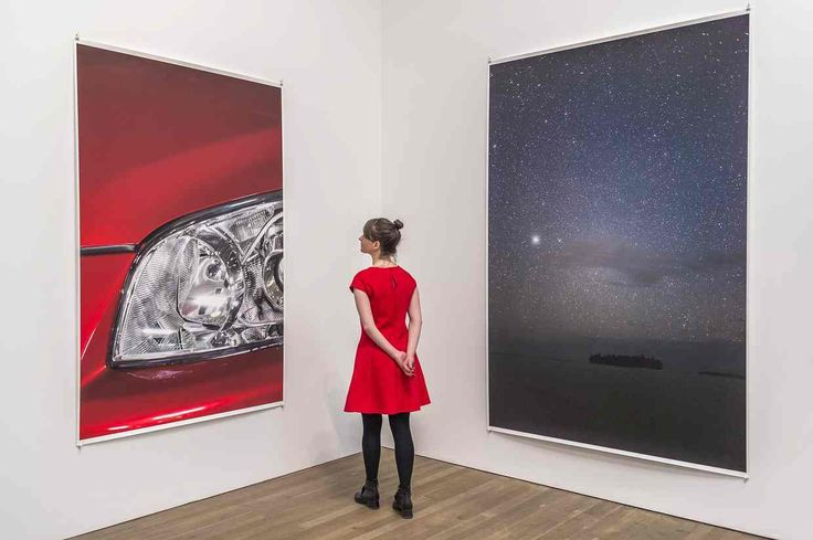 Headlight 2012, left, and Munuwata sky 2011 by Wolfgang Tillmans.
