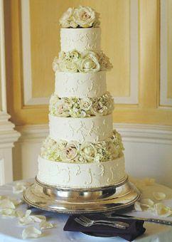 White Wedding Cake With Roses   Wedding Cake