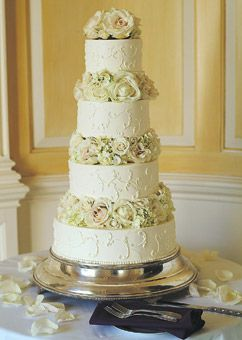Brides: White Wedding Cake With Roses. The couple selected a chocolate cake frosted in buttercream by Jenny's Wedding Cakes in Amesbury. Lush white roses and hydrangea garnished each tier.