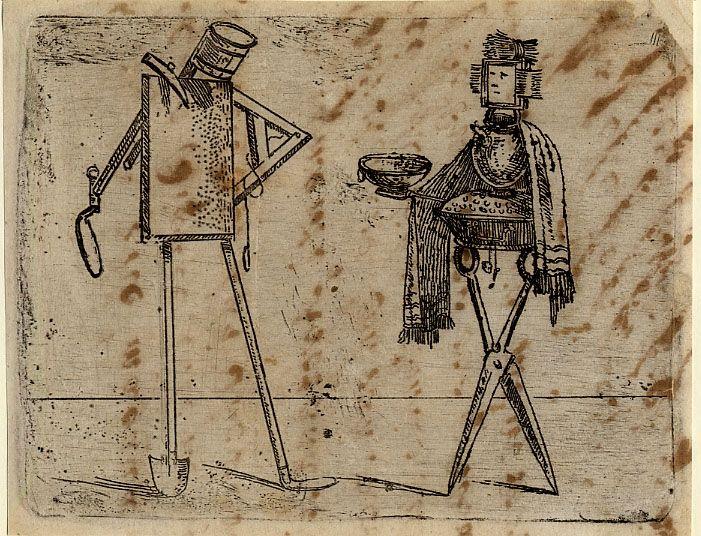 Giovanni Battista Braccelli: Bizzarie di varie figure ... 1624. Plate 19: two figures composed of domestic utensils