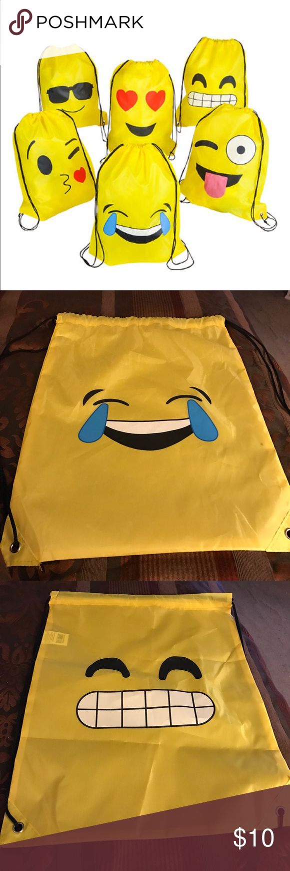 "Emoji Drawstring Bag ONLY ""Crying Laughing"" and ""All Teeth"" Emoji Drawstring bag Bags Backpacks"