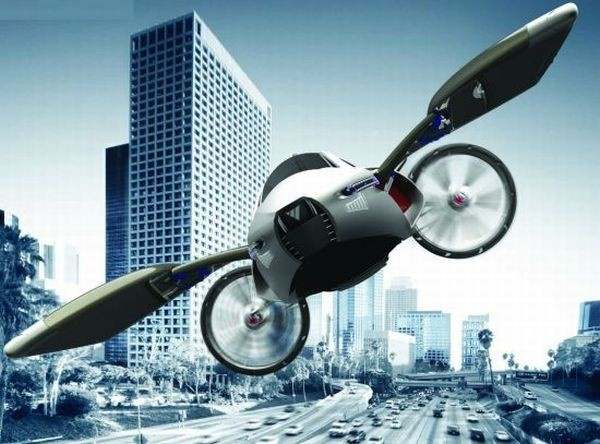 When the Yee's four wheels rotate 90 degrees, the two rear wheels protruding from the body, the vehicle becomes airborne, powered by four turbines, gliding on the wings unfolding from the body. #flyingcars