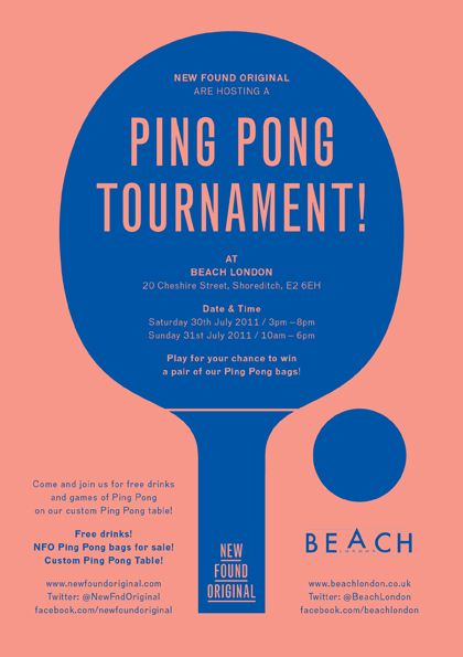 colors! --» Ping Pong tournament poster by New Found Original [ Risograph flyer printed by MANYMONO ]