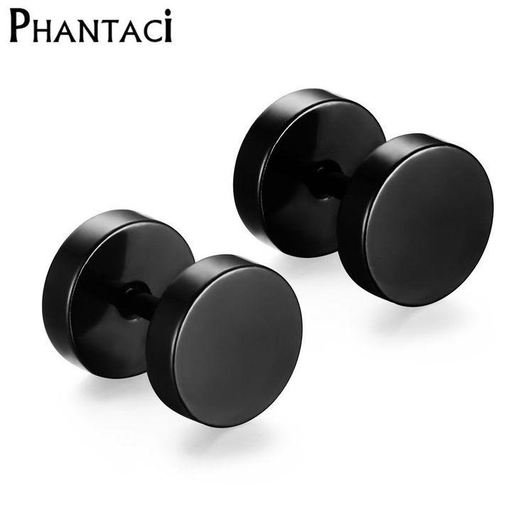 316L Stainless Steel Earrings Double Sided Round Bolt Stud Earrings For Men Women Punk Gothic Barbell Black Earrings Female Male  Price: 1.42 USD