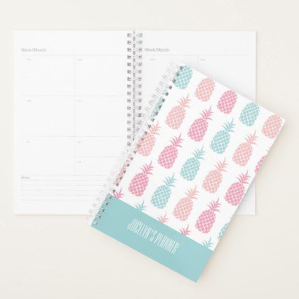 Modern Tropical Pineapple Monogram Planner - monogram gifts unique design style monogrammed diy cyo customize