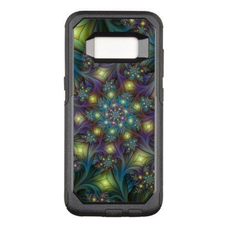 Illuminated modern blue purple Fractal Pattern OtterBox Commuter Samsung Galaxy S8 Case #fractal #pattern #samsung #galaxy #protective #cases