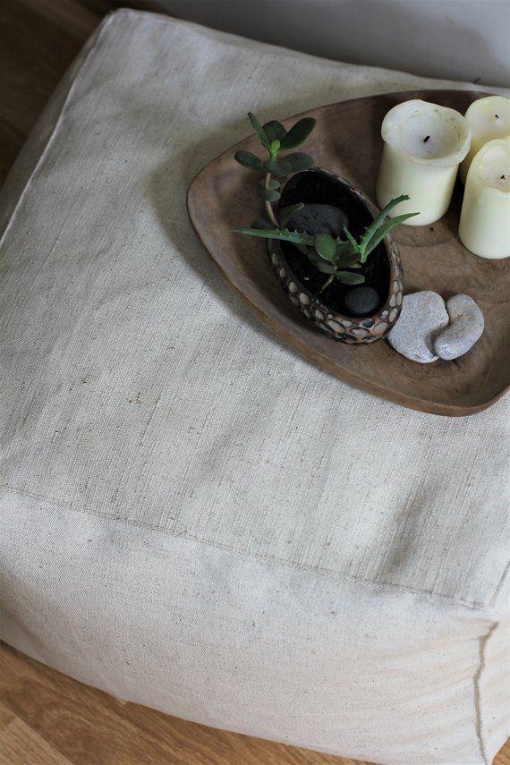 Rectangle Pouf Ivory Floor Cushion Pouf Ottoman Linen Living Room