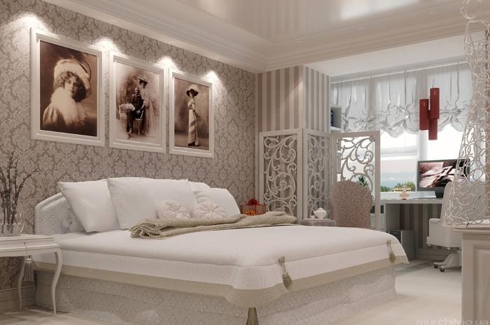 Aranżacja sypialni wystrój klasyczny w kolorach biel, brąz, beż - projekt wnętrza #9119928, Homplex