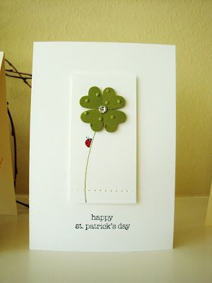 handmade card ... St Patrick's Day ... four leaf clover ... clean and simple ... luv the ladybug climbing the stem ... Stampin' Up!