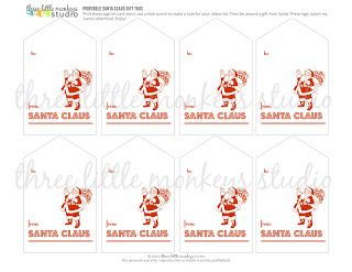 The 25 best from santa gift tags ideas on pinterest santa gift free santa letterhead and santa gift tags three little monkeys studio negle Images