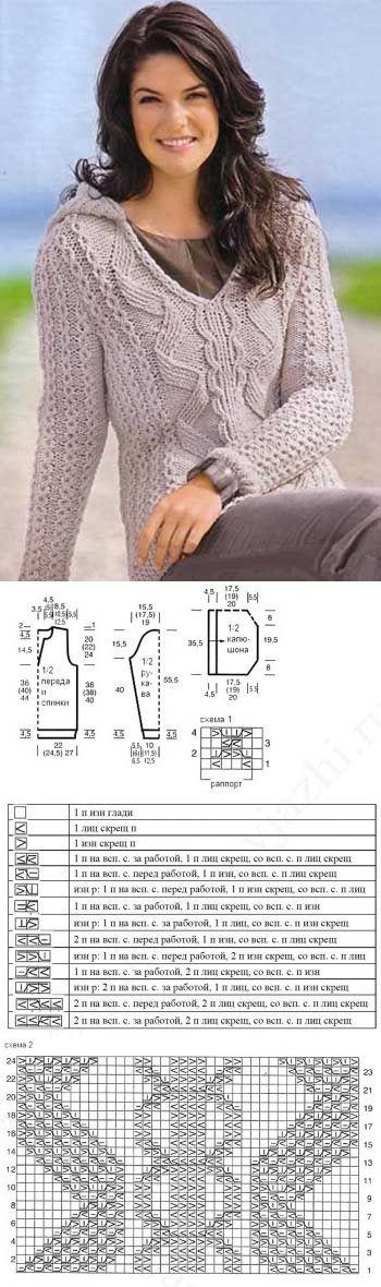 Пуловер с косами и капюшоном » AUSTERMANN » Шкатулка рукодельницы  http://rukodelo4ka.ru/vyazanie/pulover-s-kosami-i-kapyushonom.html