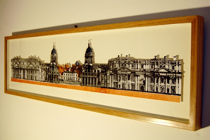 The Old Royal Naval College Buildings, Greenwich. Float mounted in a box frame.