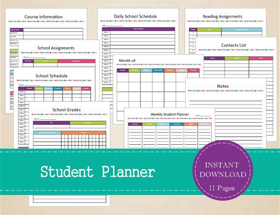 Student Planner  Printable Student Organizer  by MBucherConsulting