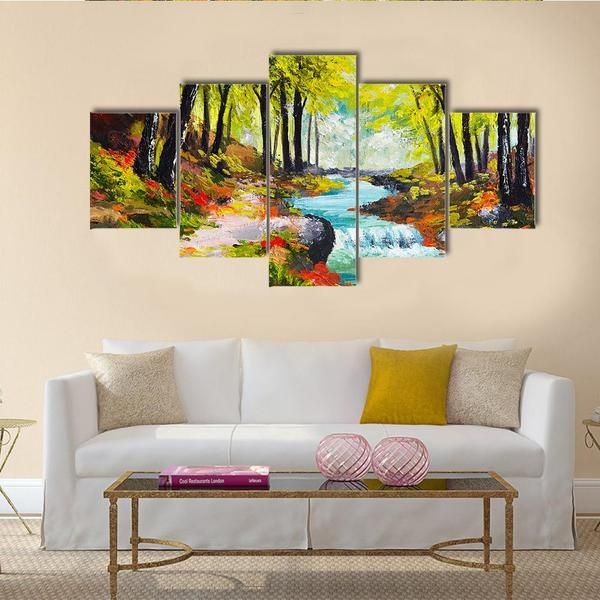 River In Autumn Forest Multi Panel Canvas Wall Art Acrylique 1 Piece