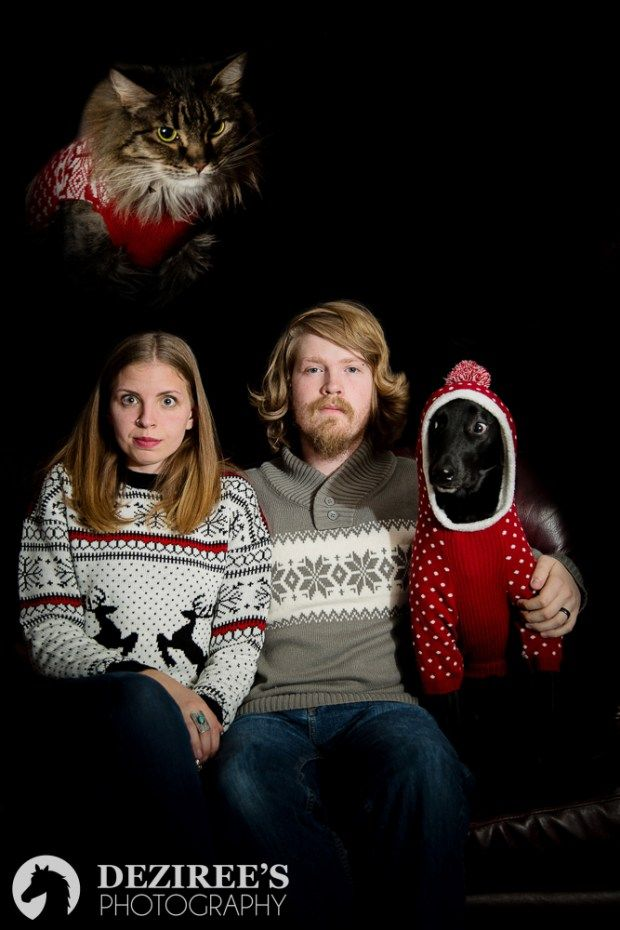 Awkward family photos for a Colorado horse photographer, with the pets wearing sweaters.