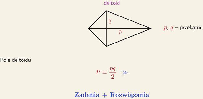 Deltoid, wzór na pole deltoidu, kąt przecięcia się przekątnych