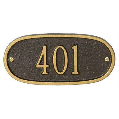"Whitehall Products 1340 Oval Petite Entryway Plaque by Whitehall. $44.99. Whitehall Products 1340 Few products can add as much value to the curb appeal of your home as a Whitehall Personalized Plaque. Each plaque is crafted from rust-free recycled aluminum. Paints have been specially formulated and weather tested to withstand the harshest elements, and many Whitehall address plaques are designed to provide maximum visibility to meet local ""911"" emergency standards. Features..."