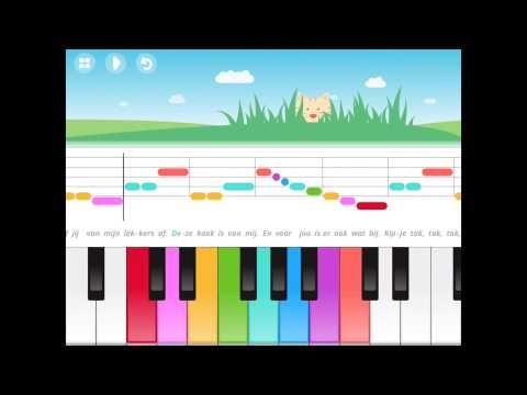 Kinderen kunnen met deze app piano leren spelen door gekleurde toetsen en punten. Aan de bovenkant van het scherm staat het liedje uitgeschreven met de bijbehorende kleuren van de toetsen die aangeraakt moeten worden. http://merelfoundation.nl/wp-content/uploads/2014/03/2016-02-11-Spelen-en-zingen.pdf
