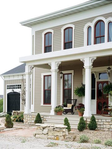 Burgundy accents give this home an unexpected pop of color. Find fabulous siding solutions: http://www.bhg.com/home-improvement/exteriors/siding/house-siding-options/?socsrc=bhgpin080612burgundyaccentshome#page=8