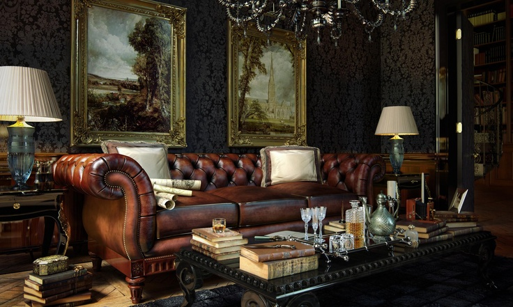 Chesterfield, wall treatment, art, accessories...gorgeous!
