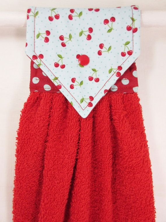 Cherries Hanging Hand Towel Cherry Hand by MarlenesSewingRoom