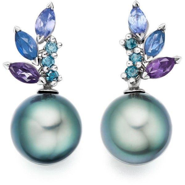 Enchanted Lagoon Earrings in White Gold Winterson (€2.795) ❤ liked on Polyvore featuring jewelry, earrings, white gold jewelry, white gold jewellery, peacock blue jewelry, peacock feather jewelry and peacock jewellery